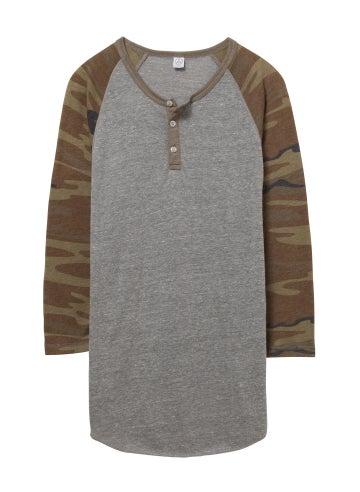 Alternative Basic Printed Eco-Jersey 3/4 Sleeve Raglan Henley Shirt - 01989EA