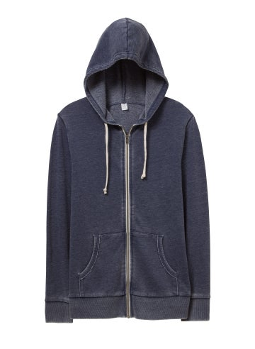 Alternative Laid Back Burnout French Terry Zip Hoodie - 08636FH